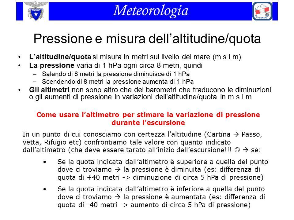 Pressione e misura dell'altitudine/quota