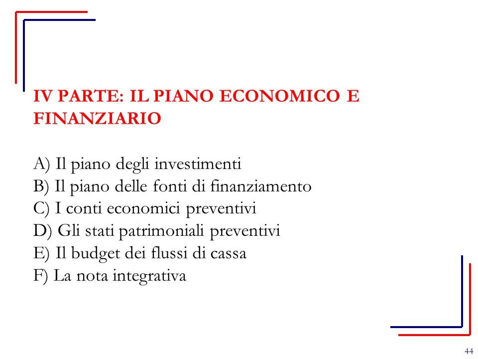 IV PARTE: IL PIANO ECONOMICO E FINANZIARIO A) Il piano degli investimenti B) Il piano delle fonti di finanziamento C) I conti economici preventivi D) Gli stati patrimoniali preventivi E) Il budget dei flussi di cassa F) La nota integrativa