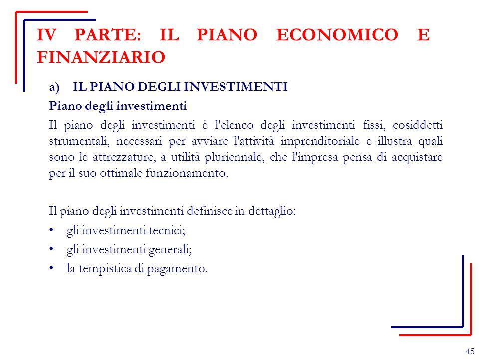 IV PARTE: IL PIANO ECONOMICO E FINANZIARIO