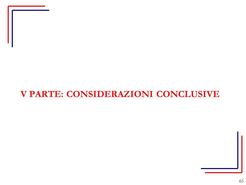 V PARTE: CONSIDERAZIONI CONCLUSIVE