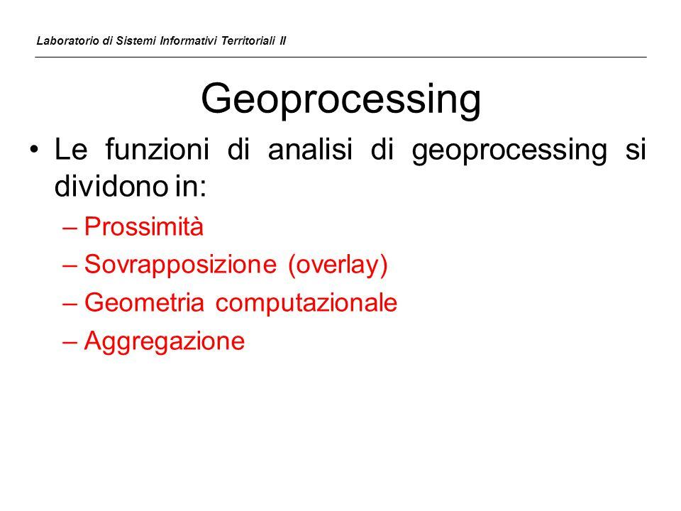 Geoprocessing Le funzioni di analisi di geoprocessing si dividono in: