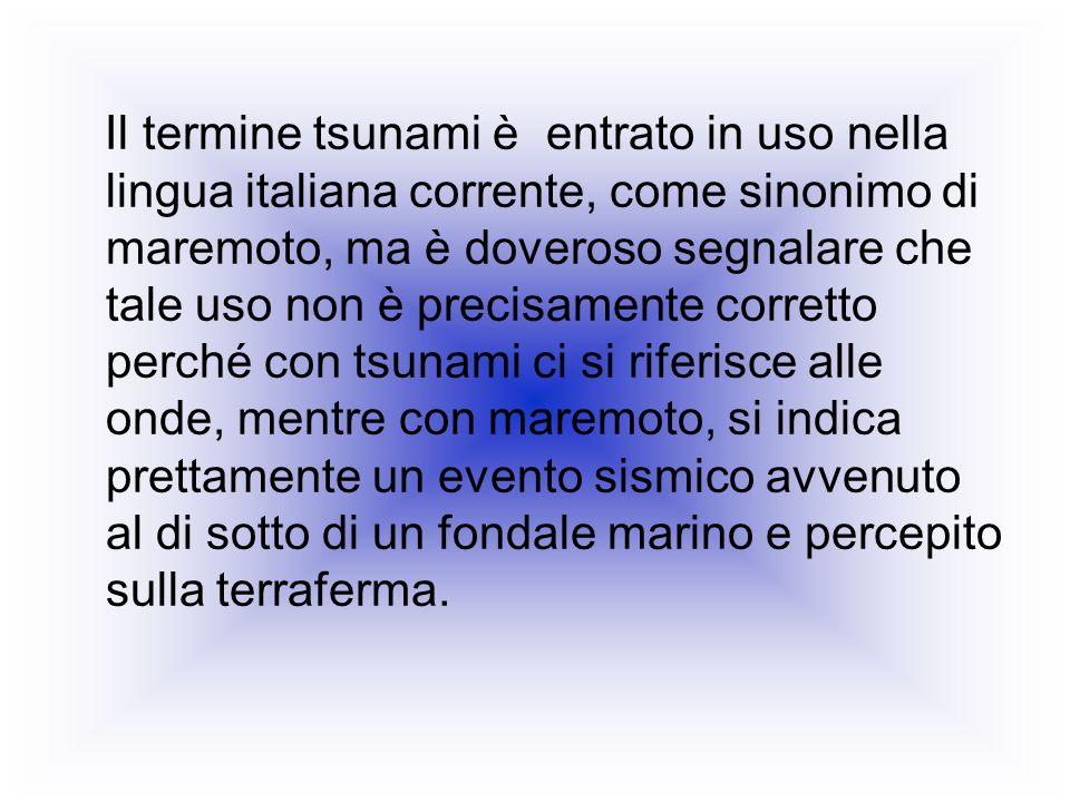 Il termine tsunami è entrato in uso nella lingua italiana corrente, come sinonimo di maremoto, ma è doveroso segnalare che tale uso non è precisamente corretto perché con tsunami ci si riferisce alle onde, mentre con maremoto, si indica prettamente un evento sismico avvenuto al di sotto di un fondale marino e percepito sulla terraferma.