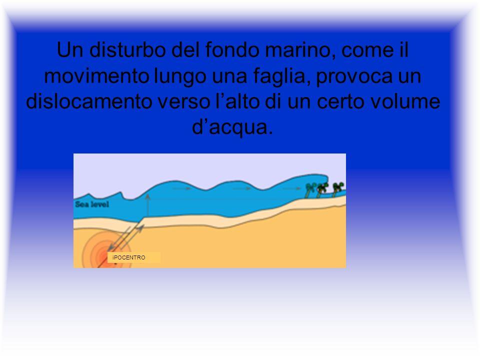 Un disturbo del fondo marino, come il movimento lungo una faglia, provoca un dislocamento verso l'alto di un certo volume d'acqua.