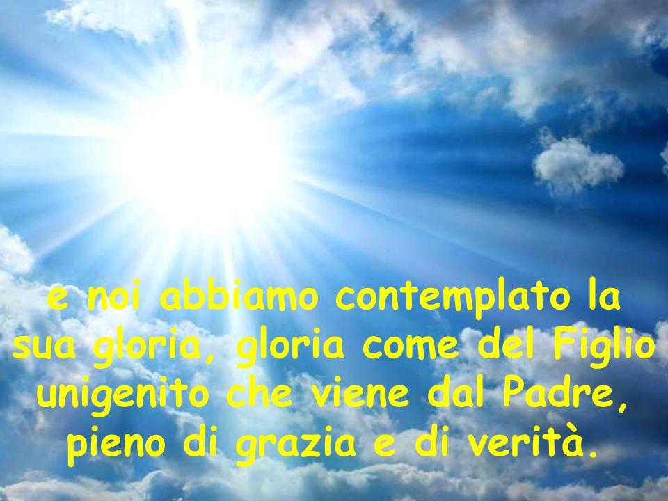 e noi abbiamo contemplato la sua gloria, gloria come del Figlio unigenito che viene dal Padre, pieno di grazia e di verità.