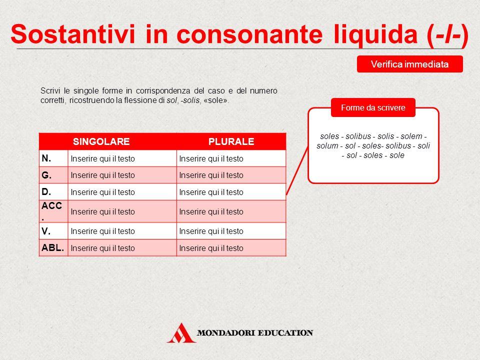 Sostantivi in consonante liquida (-l-)