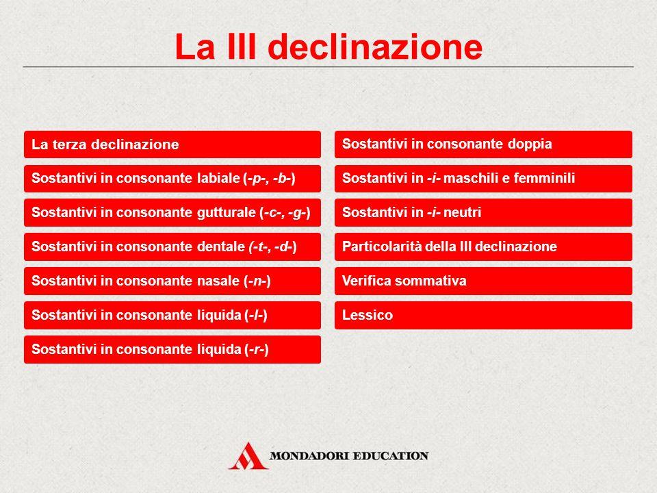 La III declinazione La terza declinazione