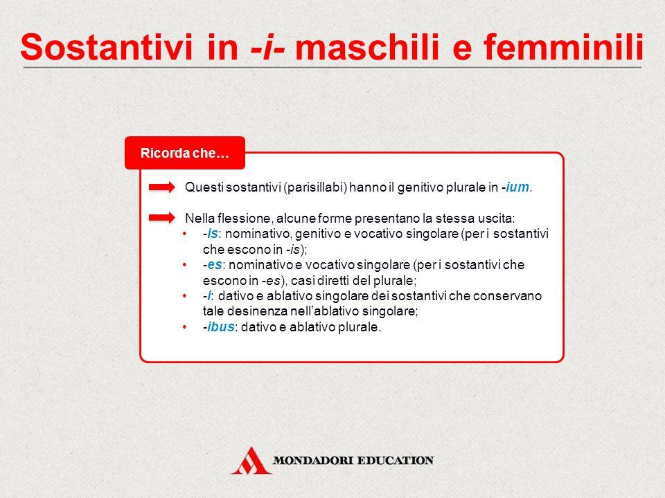 Sostantivi in -i- maschili e femminili