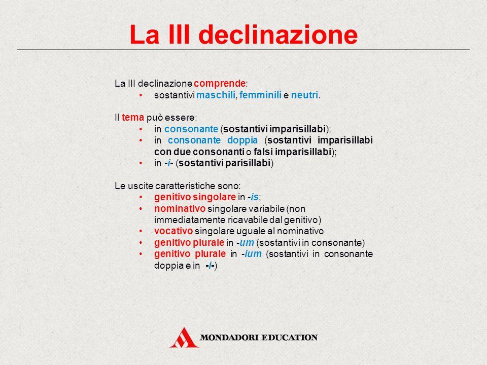 La III declinazione La III declinazione comprende: