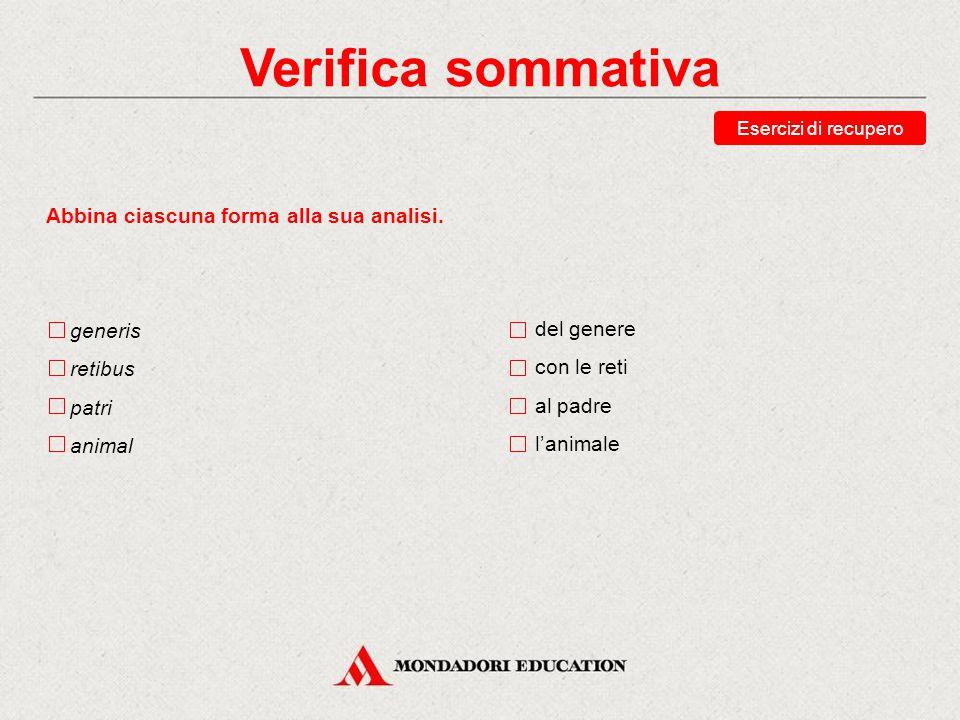 Verifica sommativa Abbina ciascuna forma alla sua analisi. generis