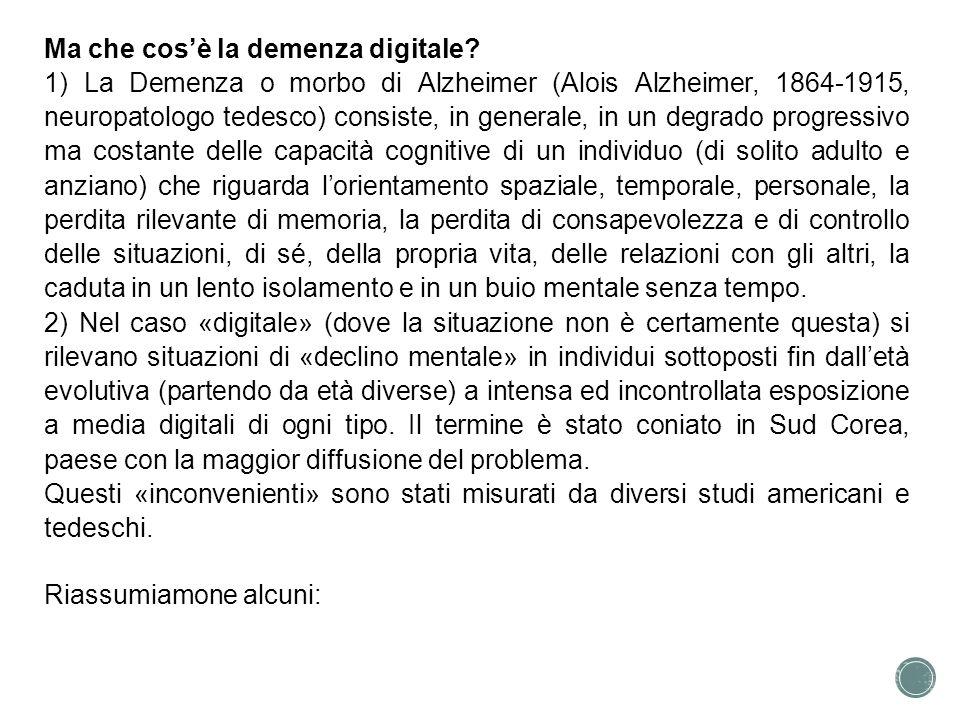 Ma che cos'è la demenza digitale
