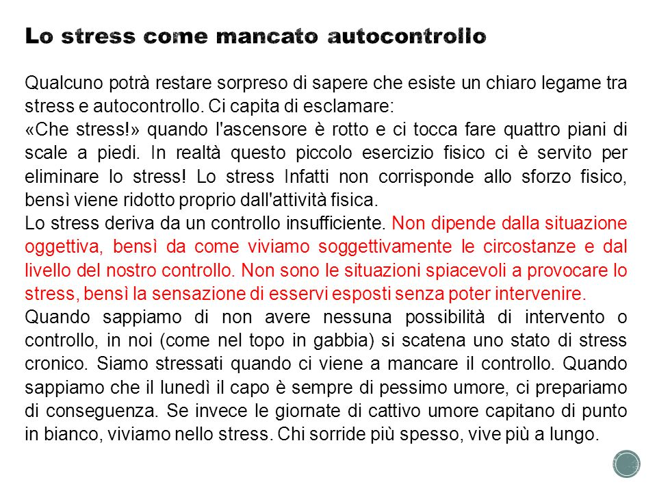 Lo stress come mancato autocontrollo