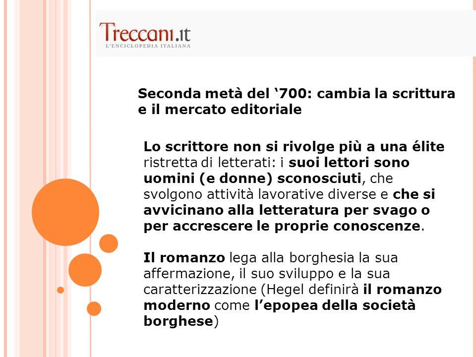 Seconda metà del '700: cambia la scrittura e il mercato editoriale