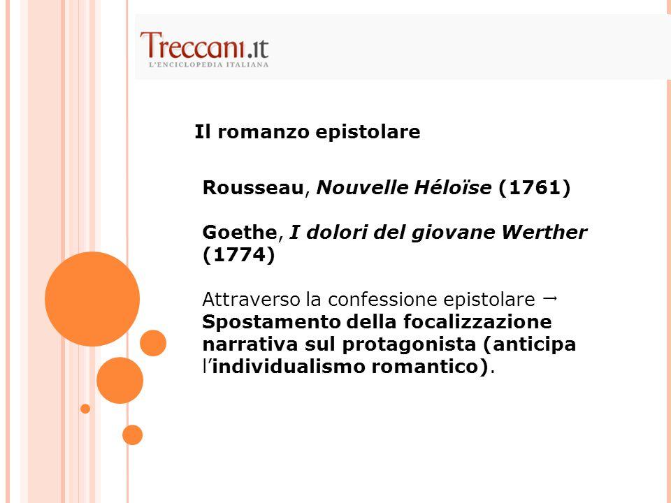 Il romanzo epistolare Rousseau, Nouvelle Héloïse (1761) Goethe, I dolori del giovane Werther (1774)