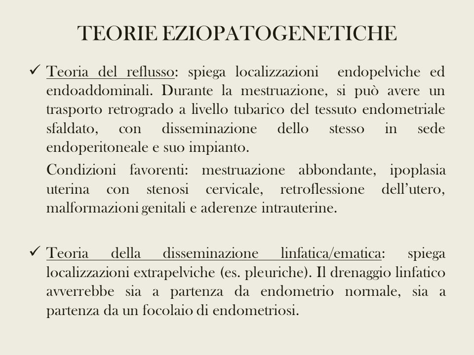 TEORIE EZIOPATOGENETICHE