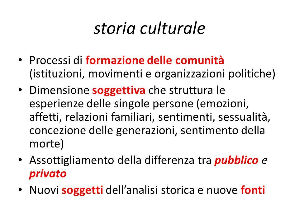 storia culturale Processi di formazione delle comunità (istituzioni, movimenti e organizzazioni politiche)