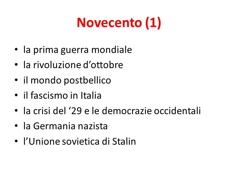 Novecento (1) la prima guerra mondiale la rivoluzione d'ottobre