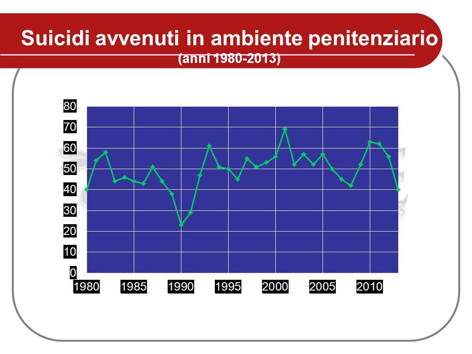 Suicidi avvenuti in ambiente penitenziario (anni 1980-2013)