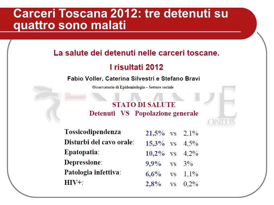 Carceri Toscana 2012: tre detenuti su quattro sono malati
