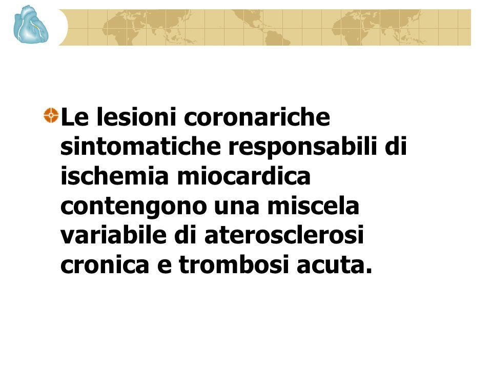 Le lesioni coronariche sintomatiche responsabili di ischemia miocardica contengono una miscela variabile di aterosclerosi cronica e trombosi acuta.