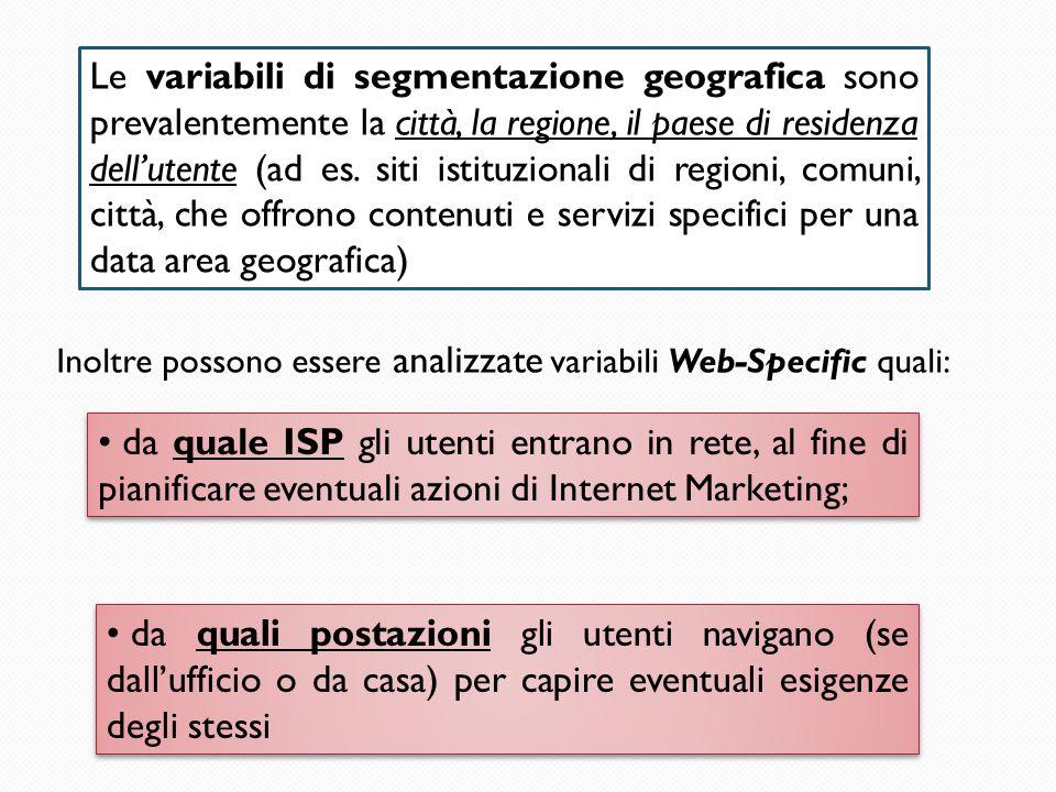 Le variabili di segmentazione geografica sono prevalentemente la città, la regione, il paese di residenza dell'utente (ad es. siti istituzionali di regioni, comuni, città, che offrono contenuti e servizi specifici per una data area geografica)