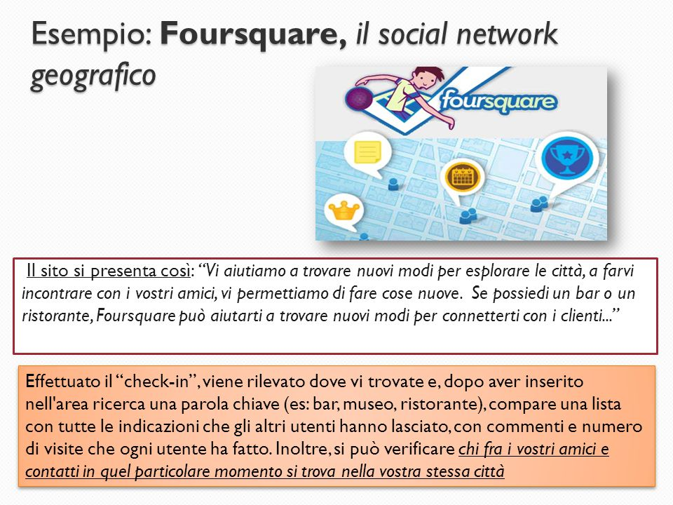 Esempio: Foursquare, il social network geografico