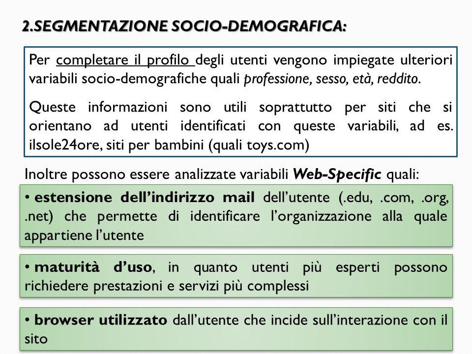 SEGMENTAZIONE SOCIO-DEMOGRAFICA: