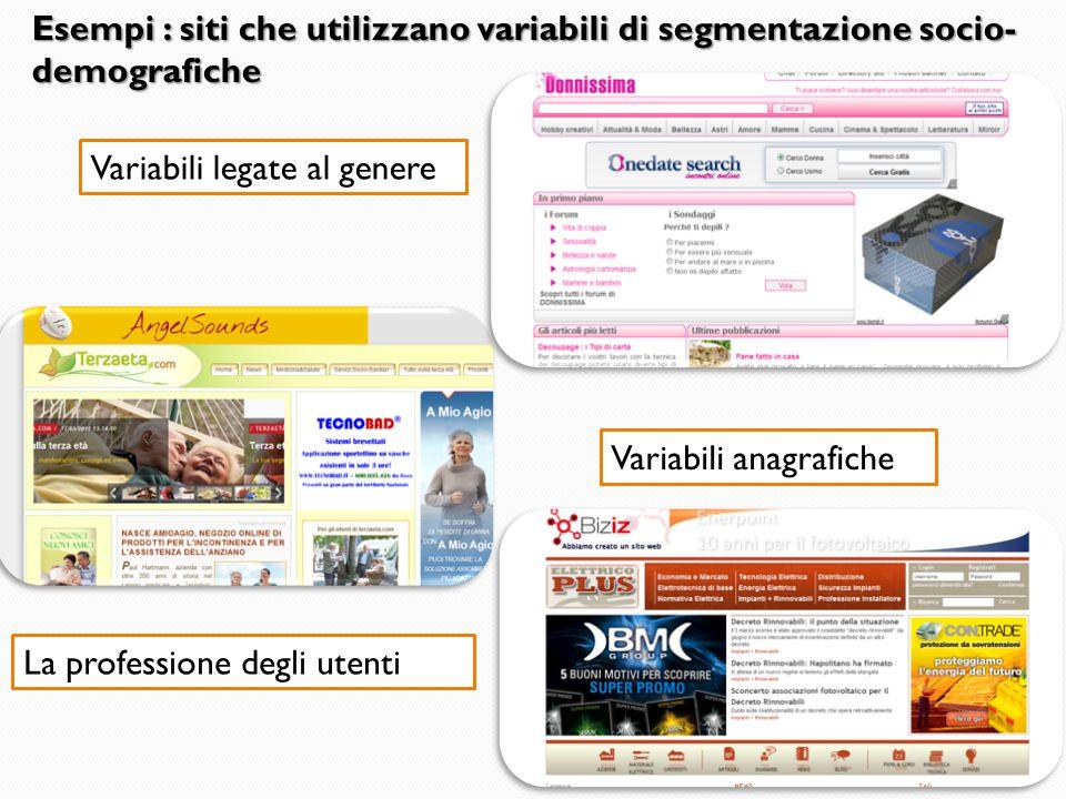 Esempi : siti che utilizzano variabili di segmentazione socio-demografiche