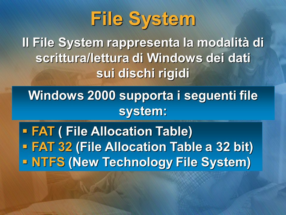 Windows 2000 supporta i seguenti file system: