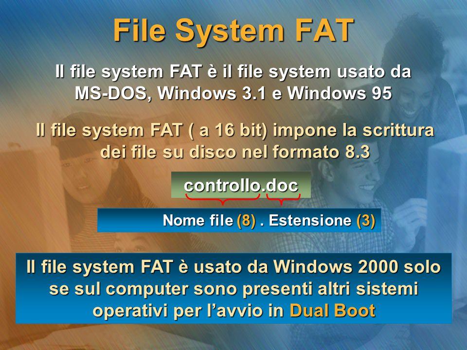 File System FAT Il file system FAT è il file system usato da