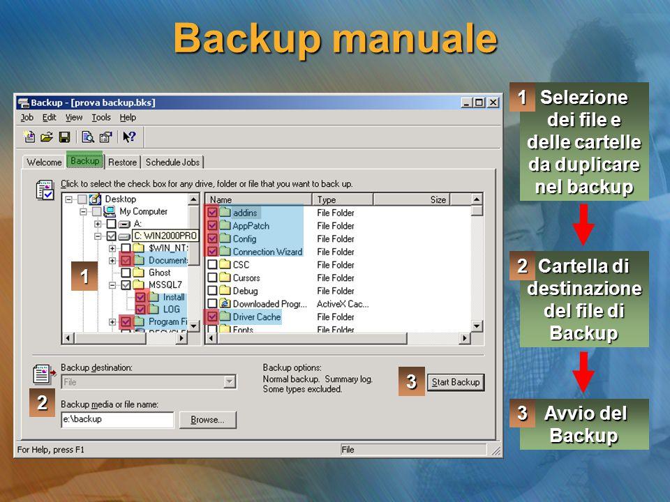 Backup manuale 1. Selezione dei file e delle cartelle da duplicare nel backup. 2. Cartella di destinazione del file di Backup.