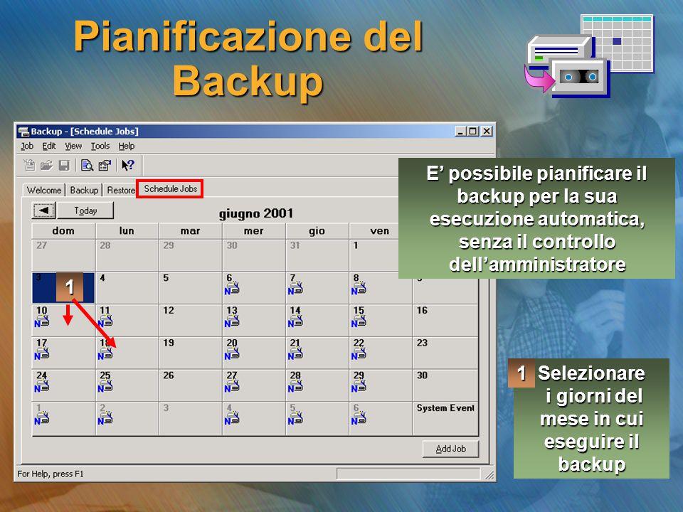 Pianificazione del Backup