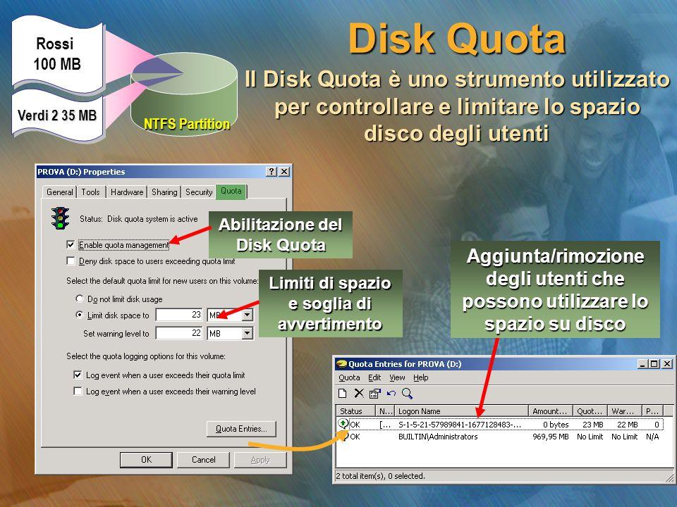 Abilitazione del Disk Quota Limiti di spazio e soglia di avvertimento