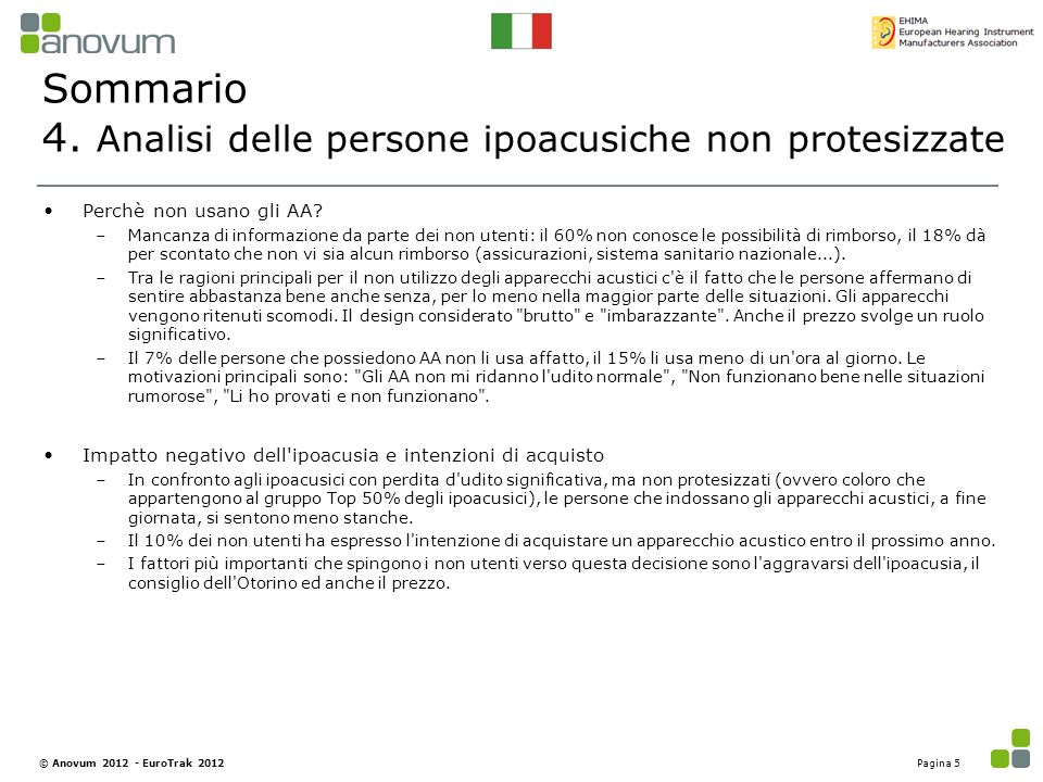 4. Analisi delle persone ipoacusiche non protesizzate