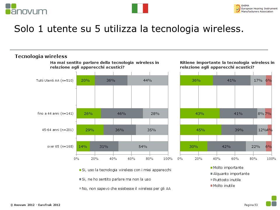 Solo 1 utente su 5 utilizza la tecnologia wireless.