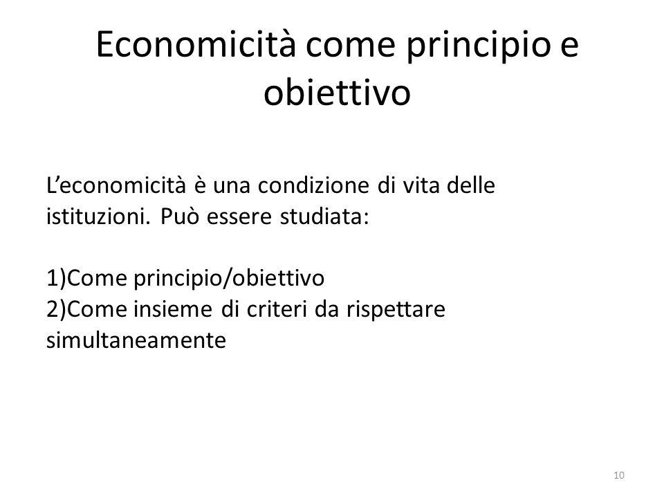 Economicità come principio e obiettivo