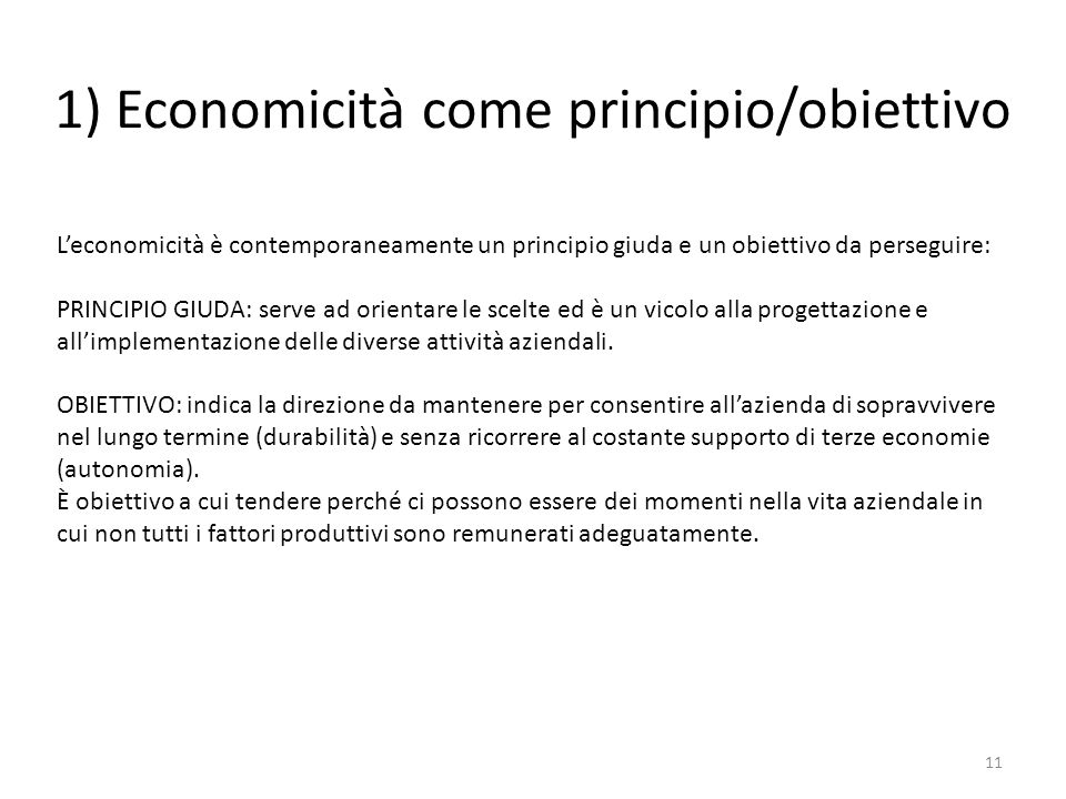 1) Economicità come principio/obiettivo