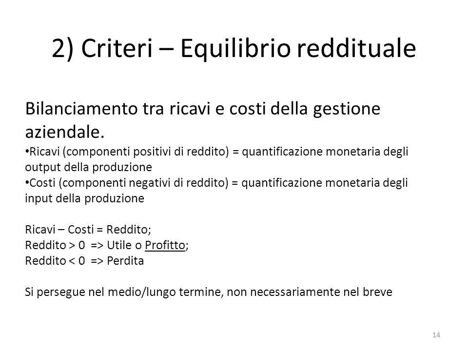 2) Criteri – Equilibrio reddituale