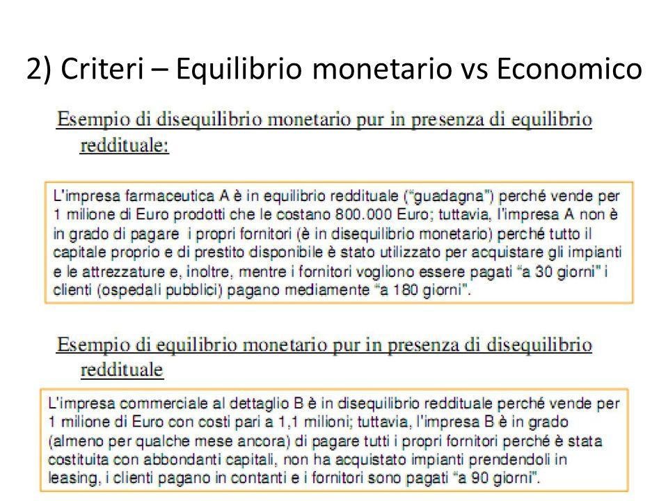 2) Criteri – Equilibrio monetario vs Economico