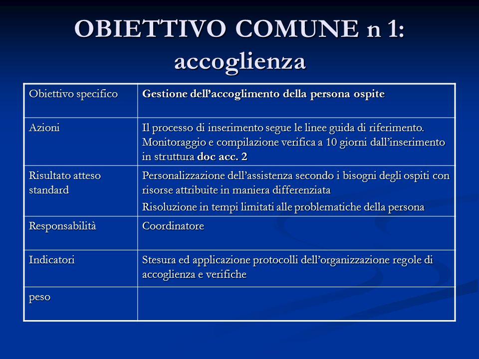 OBIETTIVO COMUNE n 1: accoglienza