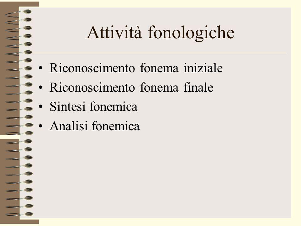 Attività fonologiche Riconoscimento fonema iniziale