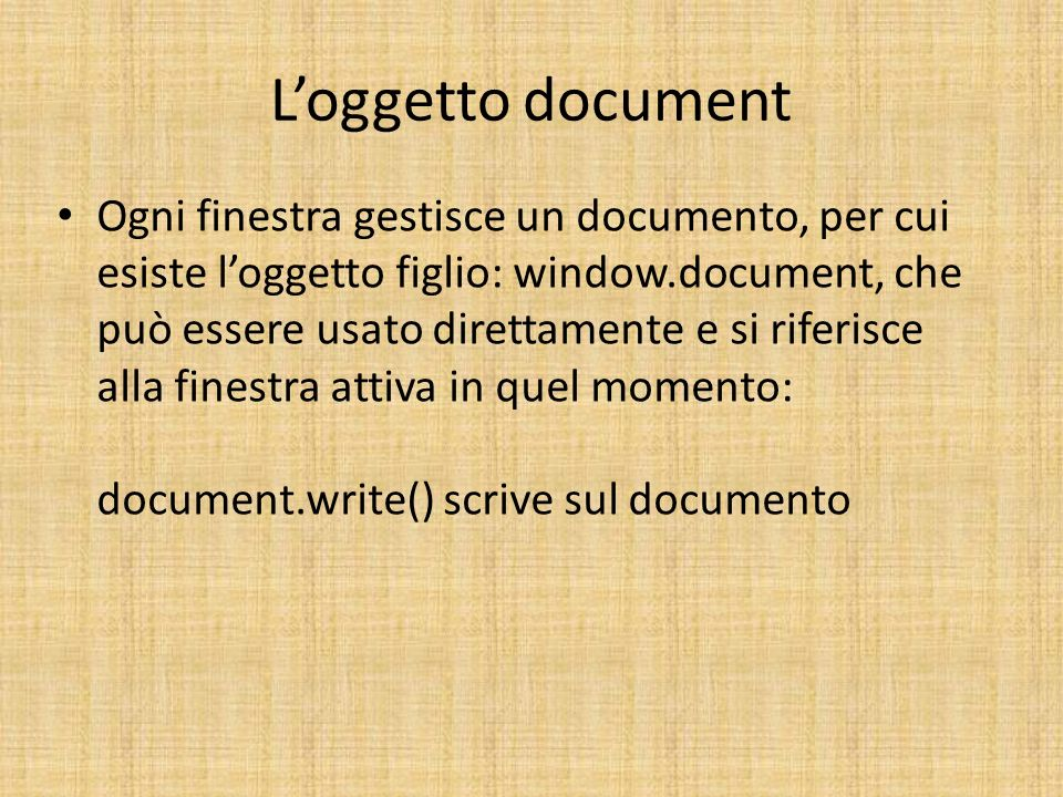 L'oggetto document