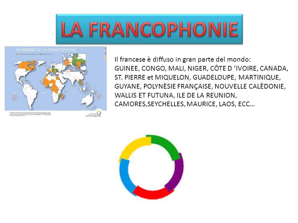 LA FRANCOPHONIE Il francese è diffuso in gran parte del mondo: