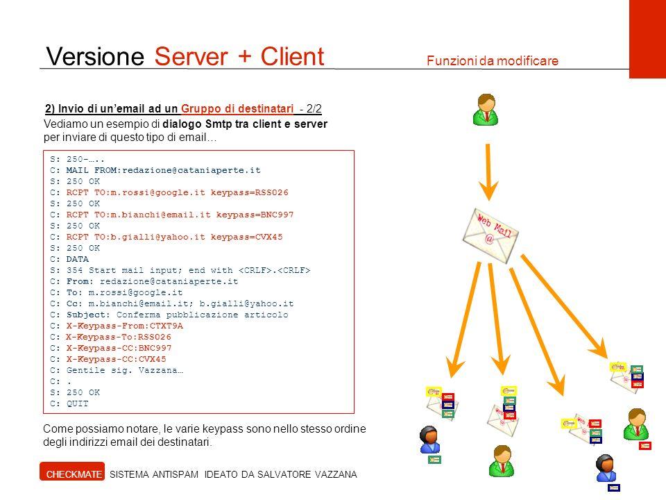Versione Server + Client Funzioni da modificare