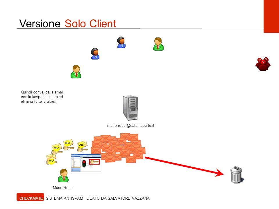 Versione Solo Client Quindi convalida le email con la keypass giusta ed elimina tutte le altre… mario.rossi@cataniaperte.it.