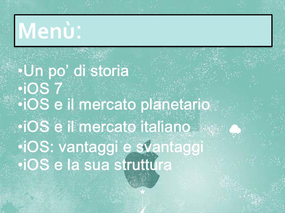 Menù: Un po' di storia iOS 7 iOS e il mercato planetario