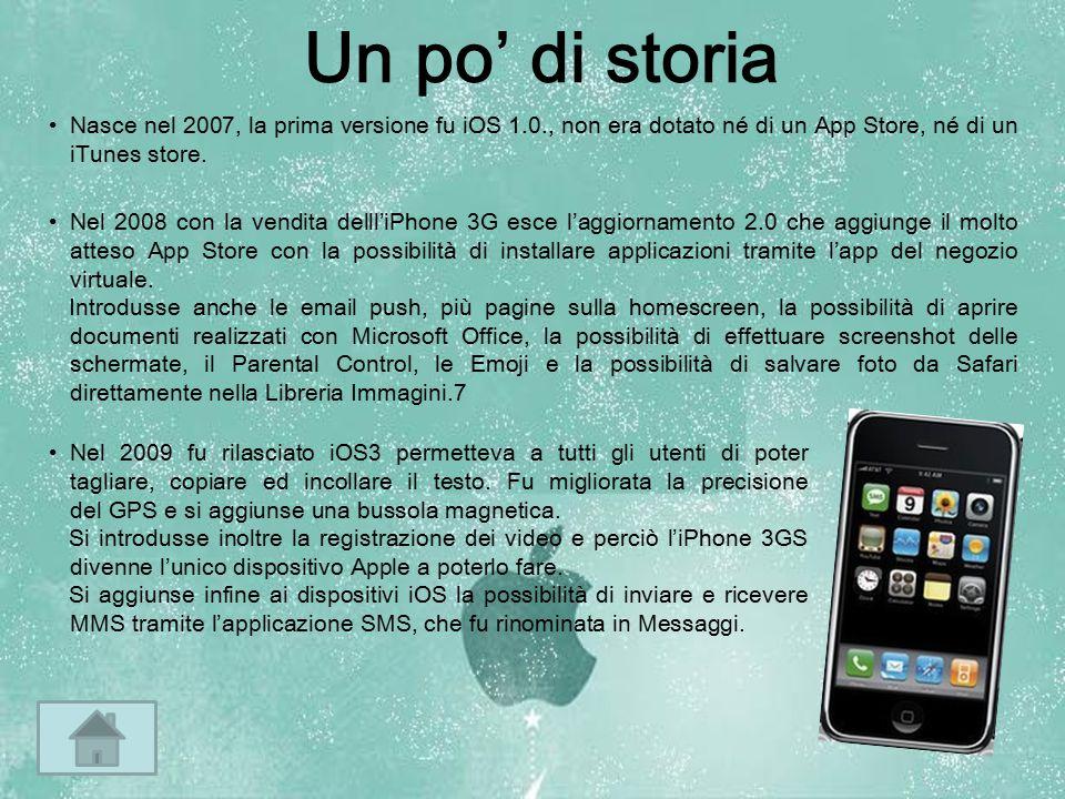 Un po' di storia Nasce nel 2007, la prima versione fu iOS 1.0., non era dotato né di un App Store, né di un iTunes store.