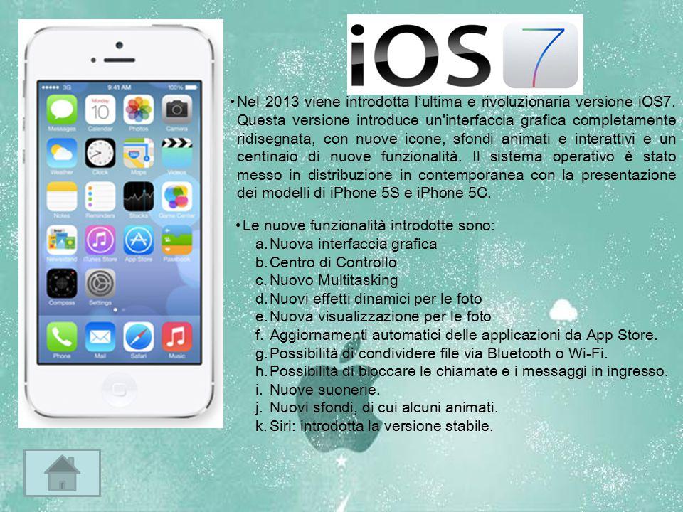 Nel 2013 viene introdotta l'ultima e rivoluzionaria versione iOS7