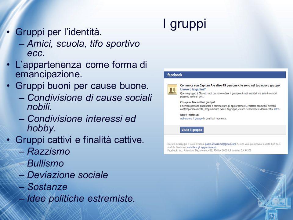 I gruppi Gruppi per l'identità. Amici, scuola, tifo sportivo ecc.