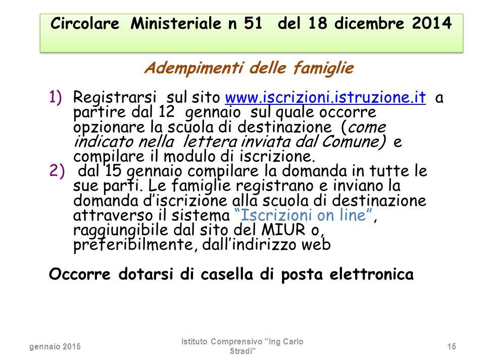 Circolare Ministeriale n 51 del 18 dicembre 2014