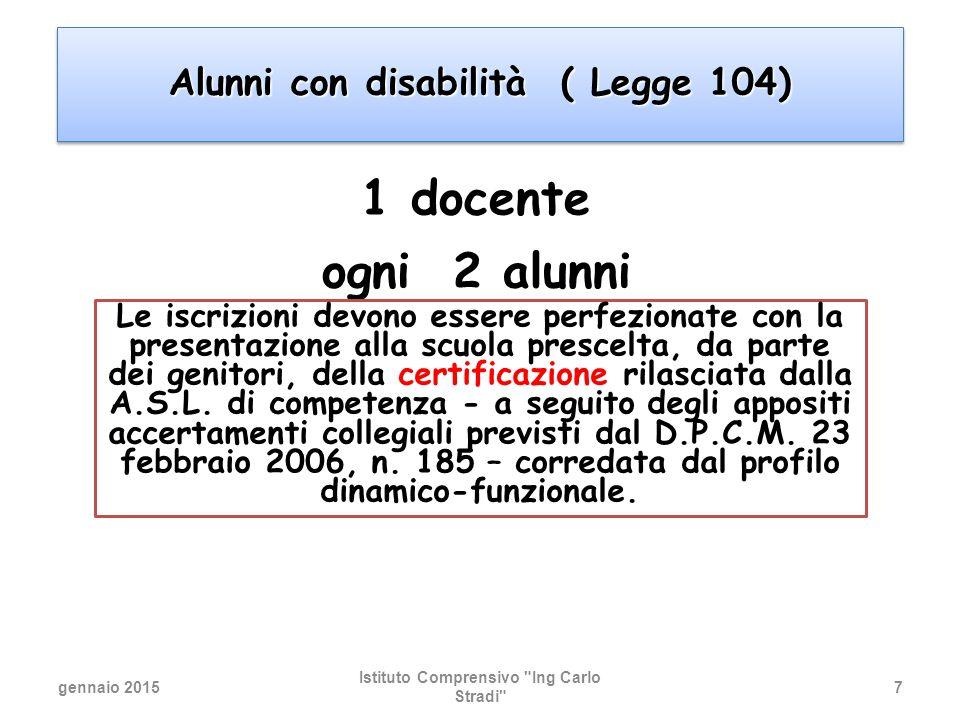 1 docente ogni 2 alunni Alunni con disabilità ( Legge 104)
